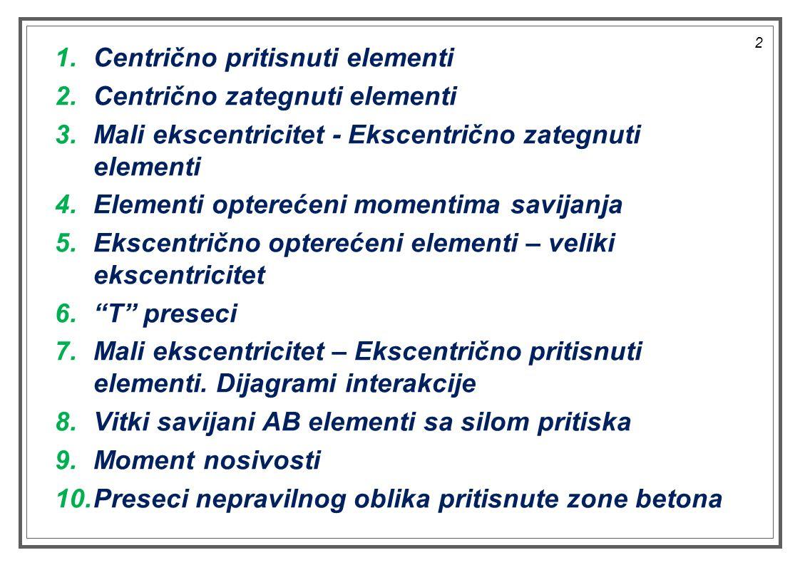 1.Centrično pritisnuti elementi 2.Centrično zategnuti elementi 3.Mali ekscentricitet - Ekscentrično zategnuti elementi 4.Elementi opterećeni momentima