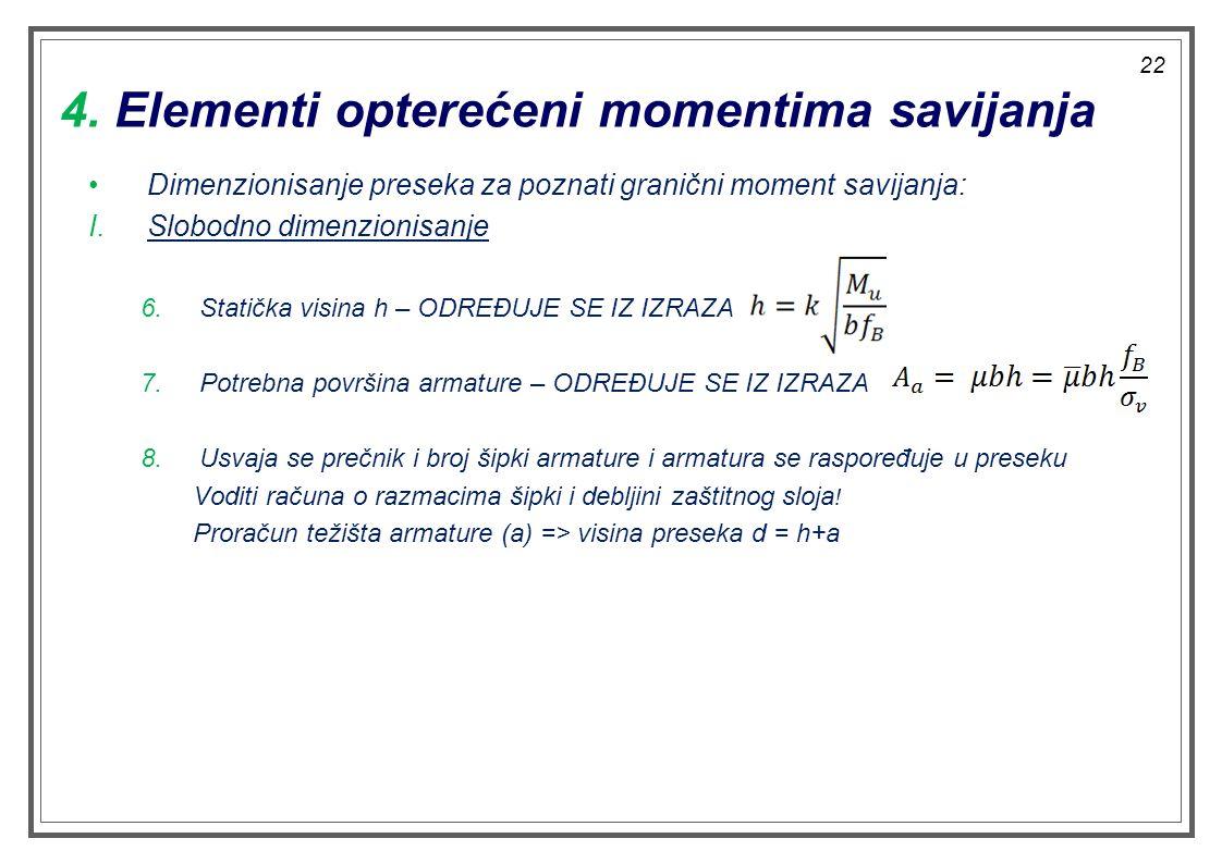 4. Elementi opterećeni momentima savijanja Dimenzionisanje preseka za poznati granični moment savijanja: I.Slobodno dimenzionisanje 6.Statička visina