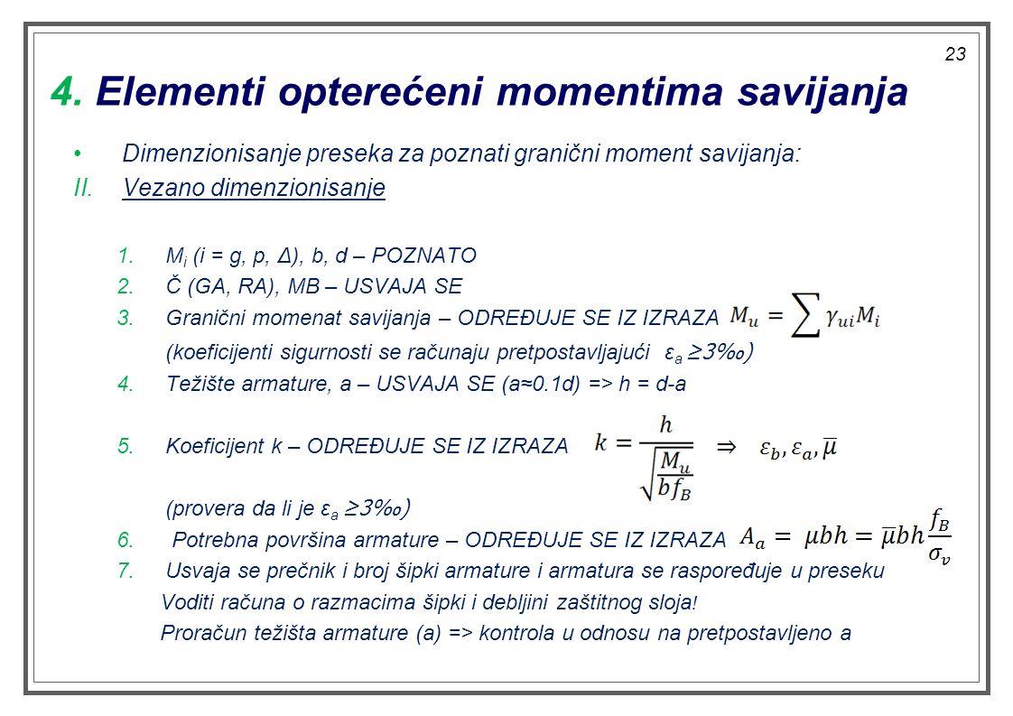 4. Elementi opterećeni momentima savijanja Dimenzionisanje preseka za poznati granični moment savijanja: II.Vezano dimenzionisanje 1.M i (i = g, p, Δ)