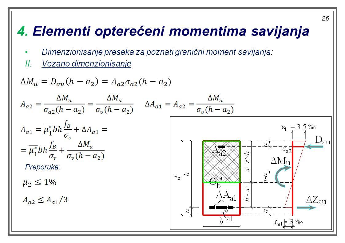 4. Elementi opterećeni momentima savijanja Dimenzionisanje preseka za poznati granični moment savijanja: II.Vezano dimenzionisanje Preporuka: 26