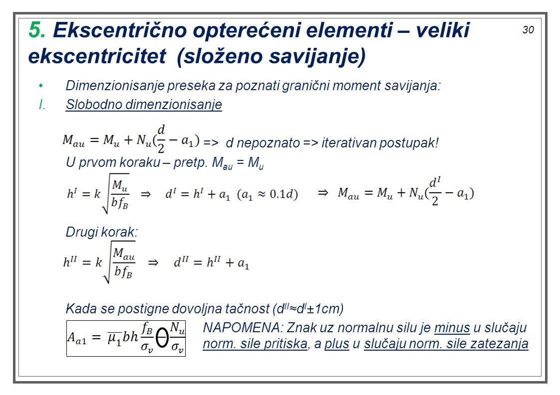 5. Ekscentrično opterećeni elementi – veliki ekscentricitet (složeno savijanje) Dimenzionisanje preseka za poznati granični moment savijanja: I.Slobod