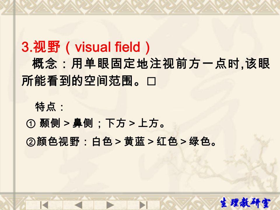3. 视野( visual field ) 概念:用单眼固定地注视前方一点时, 该眼 所能看到的空间范围。 特点: ① 颞侧>鼻侧;下方>上方。 ②颜色视野:白色>黄蓝>红色>绿色。