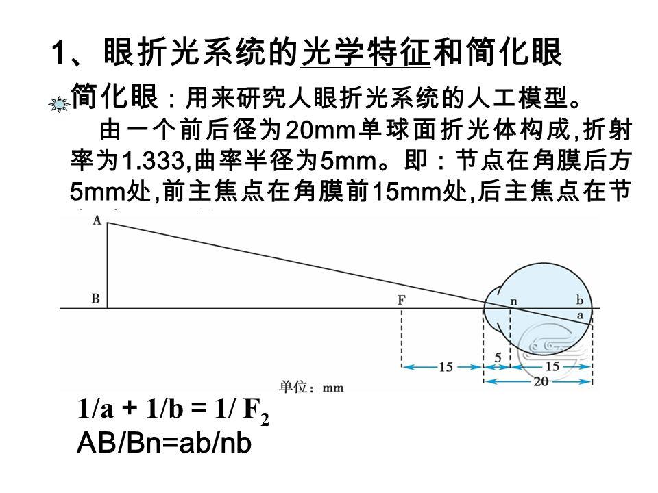 简化眼 :用来研究人眼折光系统的人工模型。 由一个前后径为 20mm 单球面折光体构成, 折射 率为 1.333, 曲率半径为 5mm 。即:节点在角膜后方 5mm 处, 前主焦点在角膜前 15mm 处, 后主焦点在节 点后 15mm 处。 1 、眼折光系统的光学特征和简化眼 1/a + 1/b = 1/ F 2 AB/Bn=ab/nb