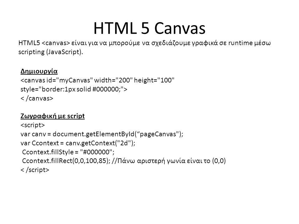 HTML 5 Canvas HTML5 είναι για να μπορούμε να σχεδιάζουμε γραφικά σε runtime μέσω scripting (JavaScript).
