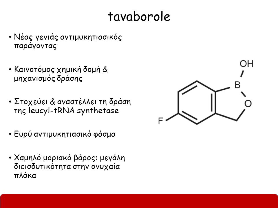 tavaborole Νέας γενιάς αντιμυκητιασικός παράγοντας Καινοτόμος χημική δομή & μηχανισμός δράσης Στοχεύει & αναστέλλει τη δράση της leucyl-tRNA synthetase Ευρύ αντιμυκητιασικό φάσμα Χαμηλό μοριακό βάρος: μεγάλη διεισδυτικότητα στην ονυχαία πλάκα