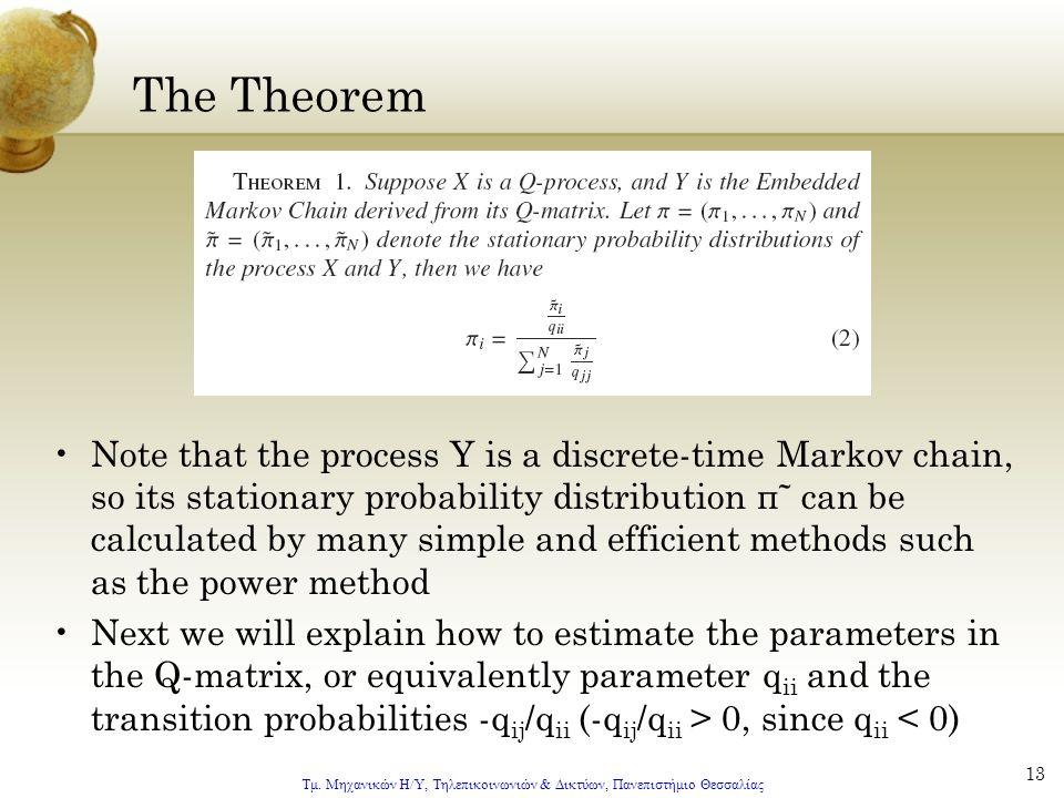Τμ. Μηχανικών Η/Υ, Τηλεπικοινωνιών & Δικτύων, Πανεπιστήμιο Θεσσαλίας 13 The Theorem Note that the process Y is a discrete-time Markov chain, so its st