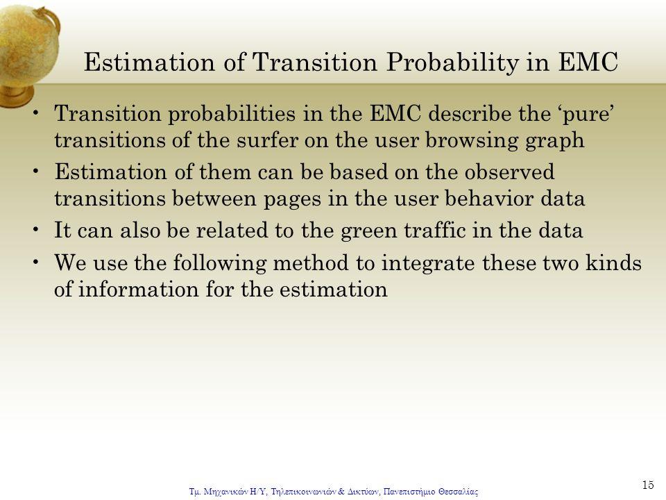 Τμ. Μηχανικών Η/Υ, Τηλεπικοινωνιών & Δικτύων, Πανεπιστήμιο Θεσσαλίας 15 Estimation of Transition Probability in EMC Transition probabilities in the EM