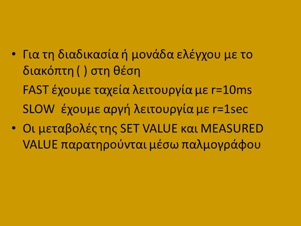 Για τη διαδικασία ή μονάδα ελέγχου με το διακόπτη ( ) στη θέση FAST έχουμε ταχεία λειτουργία με r=10ms SLOW έχουμε αργή λειτουργία με r=1sec Οι μεταβο