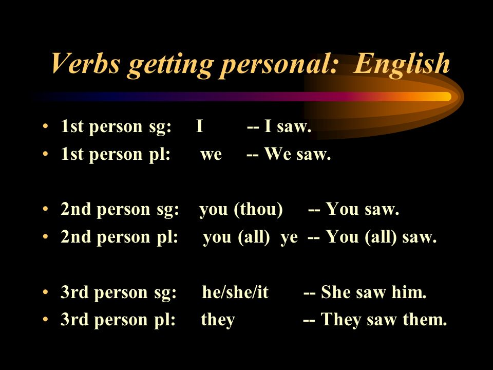 Verbs getting personal: English 1st person sg: I -- I saw. 1st person pl: we -- We saw. 2nd person sg: you (thou) -- You saw. 2nd person pl: you (all)