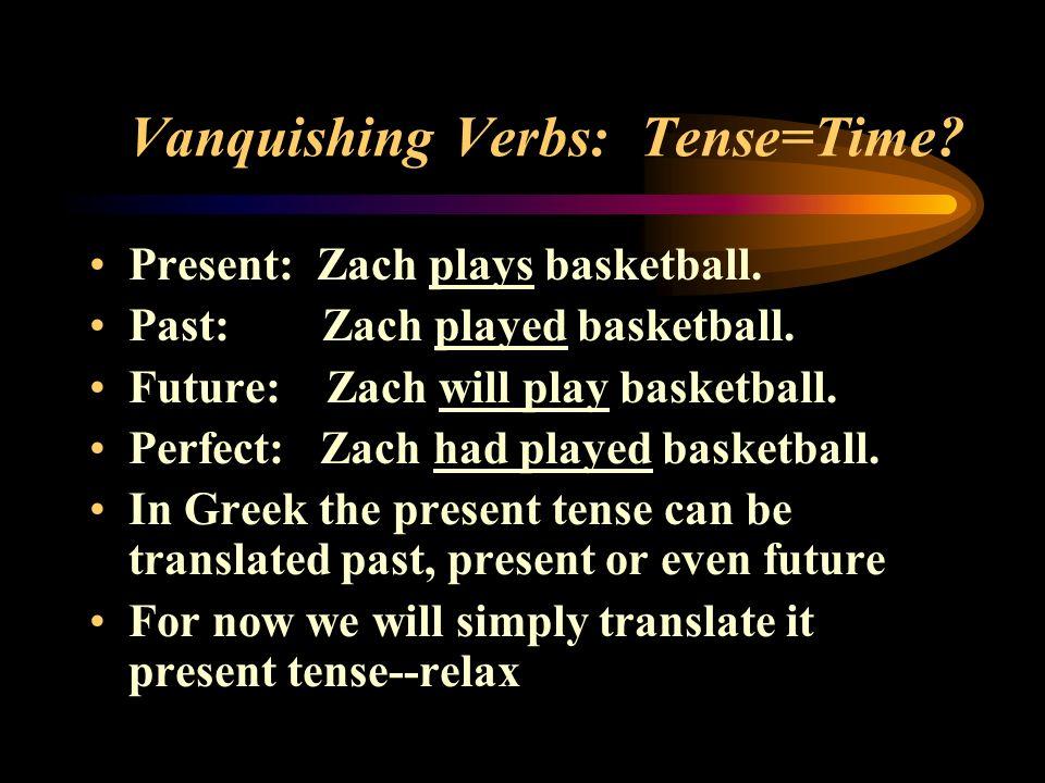 Vanquishing Verbs: Tense=Time. Present: Zach plays basketball.