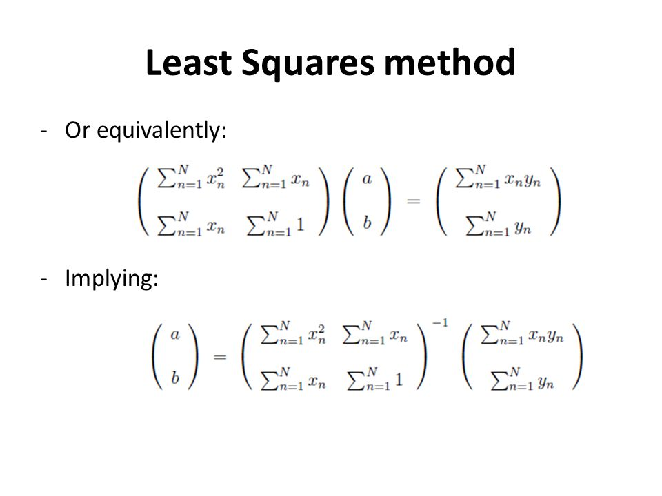 Least Squares method -Or equivalently: -Implying: