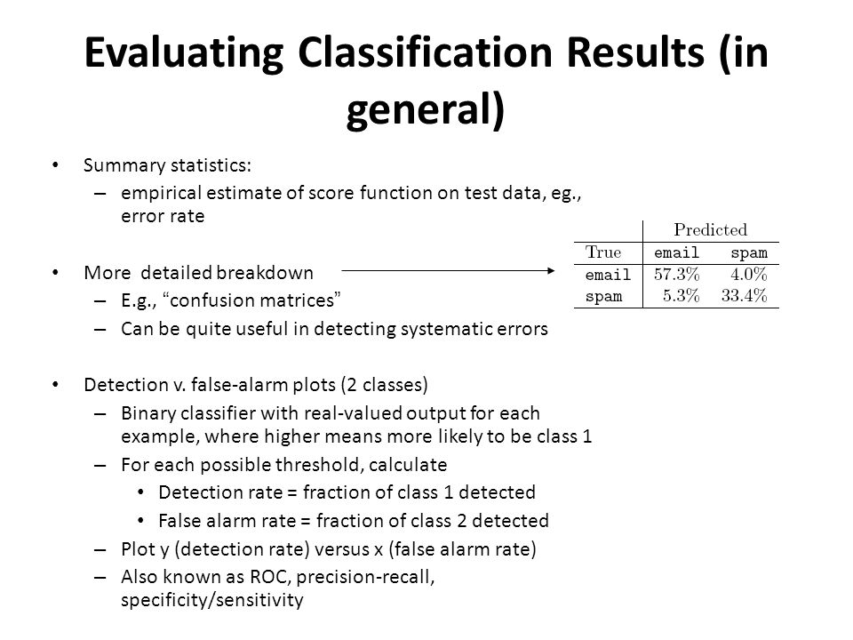 Evaluating Classification Results (in general) Summary statistics: – empirical estimate of score function on test data, eg., error rate More detailed breakdown – E.g., confusion matrices – Can be quite useful in detecting systematic errors Detection v.