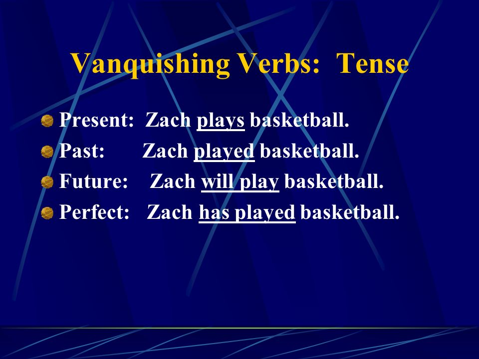 Vanquishing Verbs: Tense Present: Zach plays basketball.