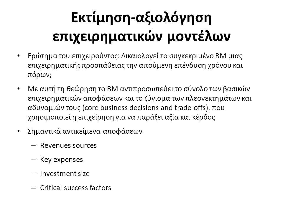 Εκτίμηση-αξιολόγηση επιχειρηματικών μοντέλων Ερώτημα του επιχειρούντος: Δικαιολογεί το συγκεκριμένο ΒΜ μιας επιχειρηματικής προσπάθειας την αιτούμενη επένδυση χρόνου και πόρων; Με αυτή τη θεώρηση το ΒΜ αντιπροσωπεύει το σύνολο των βασικών επιχειρηματικών αποφάσεων και το ζύγισμα των πλεονεκτημάτων και αδυναμιών τους (core business decisions and trade-offs), που χρησιμοποιεί η επιχείρηση για να παράξει αξία και κέρδος Σημαντικά αντικείμενα αποφάσεων – Revenues sources – Key expenses – Investment size – Critical success factors