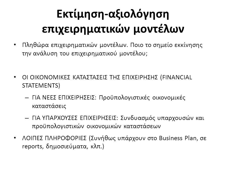 Εκτίμηση-αξιολόγηση επιχειρηματικών μοντέλων Πληθώρα επιχειρηματικών μοντέλων. Ποιο το σημείο εκκίνησης την ανάλυση του επιχειρηματικού μοντέλου; ΟΙ Ο