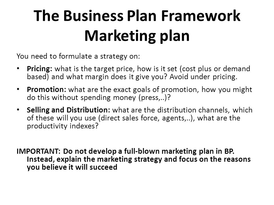 The Business Plan Framework Marketing plan You need to formulate a strategy on: Pricing: what is the target price, how is it set (cost plus or demand