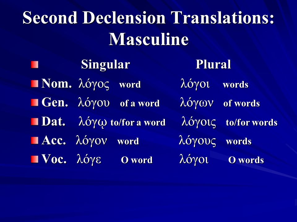 Second Declension Translations: Masculine Singular Plural Singular Plural Nom.
