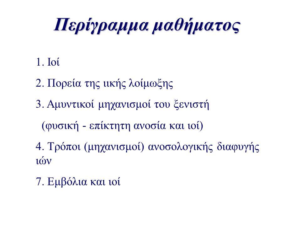 1. Ιοί 2. Πορεία της ιικής λοίμωξης 3. Αμυντικοί μηχανισμοί του ξενιστή (φυσική - επίκτητη ανοσία και ιοί) 4. Τρόποι (μηχανισμοί) ανοσολογικής διαφυγή