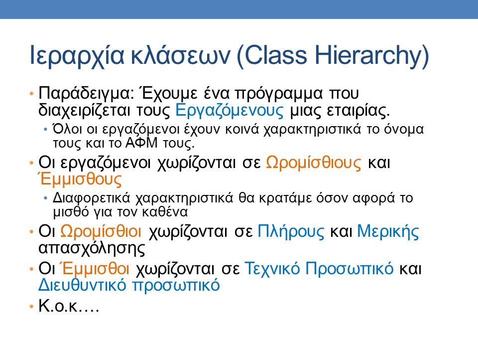 Ιεραρχία κλάσεων (Class Hierarchy) Παράδειγμα: Έχουμε ένα πρόγραμμα που διαχειρίζεται τους Εργαζόμενους μιας εταιρίας. Όλοι οι εργαζόμενοι έχουν κοινά