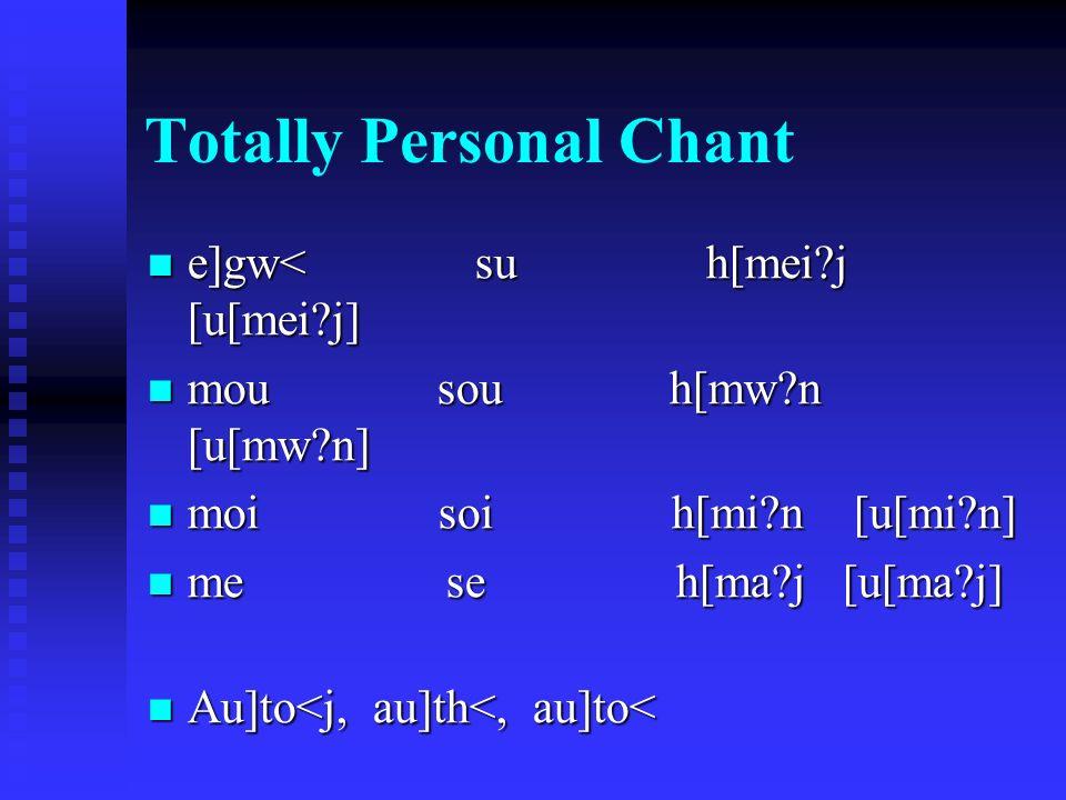Totally Personal Chant e]gw< su h[mei j [ u[mei j ] e]gw< su h[mei j [ u[mei j ] mou sou h[mw n [ u[mw n ] mou sou h[mw n [ u[mw n ] moi soi h[mi n [ u[mi n ] moi soi h[mi n [ u[mi n ] me se h[ma j [ u[ma j ] me se h[ma j [ u[ma j ] Au]to<j, au]th<, au]to< Au]to<j, au]th<, au]to<