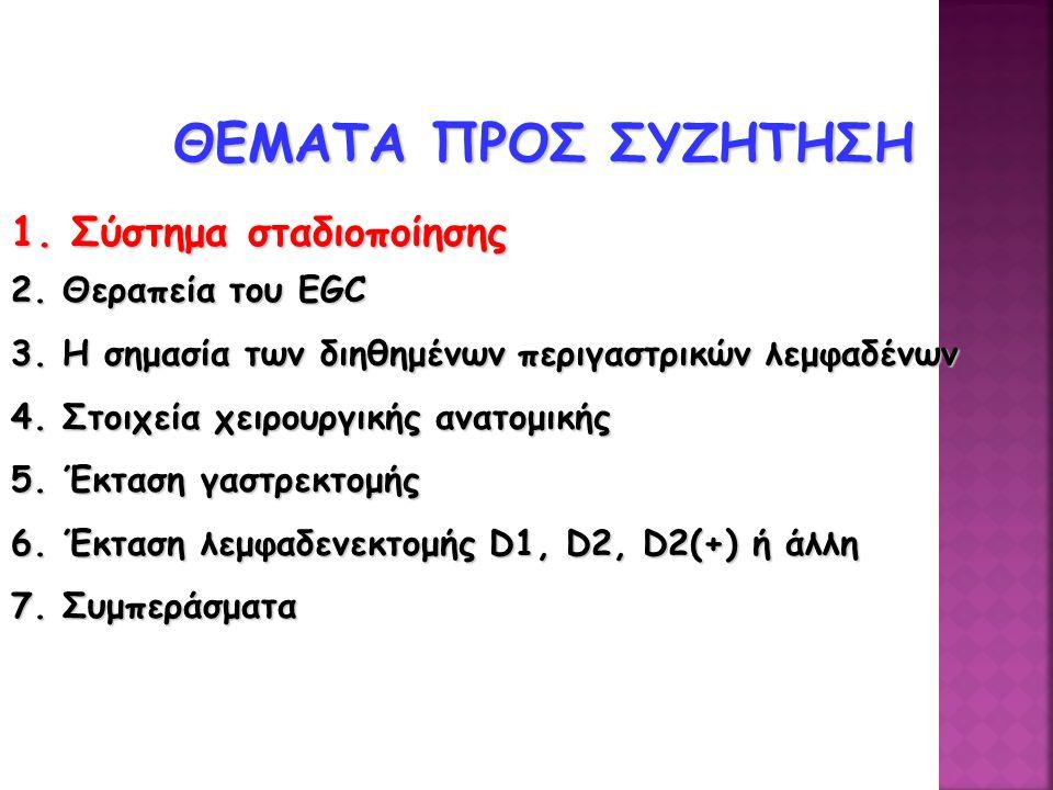 ΘΕΜΑΤΑ ΠΡΟΣ ΣΥΖΗΤΗΣΗ 1.Σύστημα σταδιοποίησης 2. Θεραπεία του EGC 3.