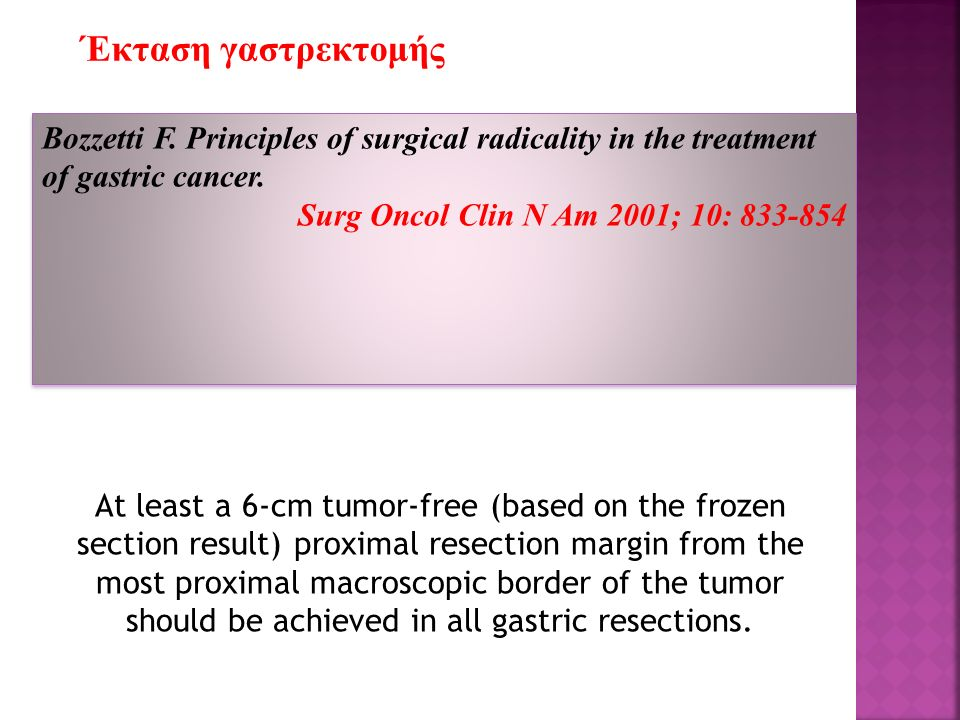 Bozzetti F. Principles of surgical radicality in the treatment of gastric cancer. Surg Oncol Clin N Am 2001; 10: 833-854 Bozzetti F. Principles of sur