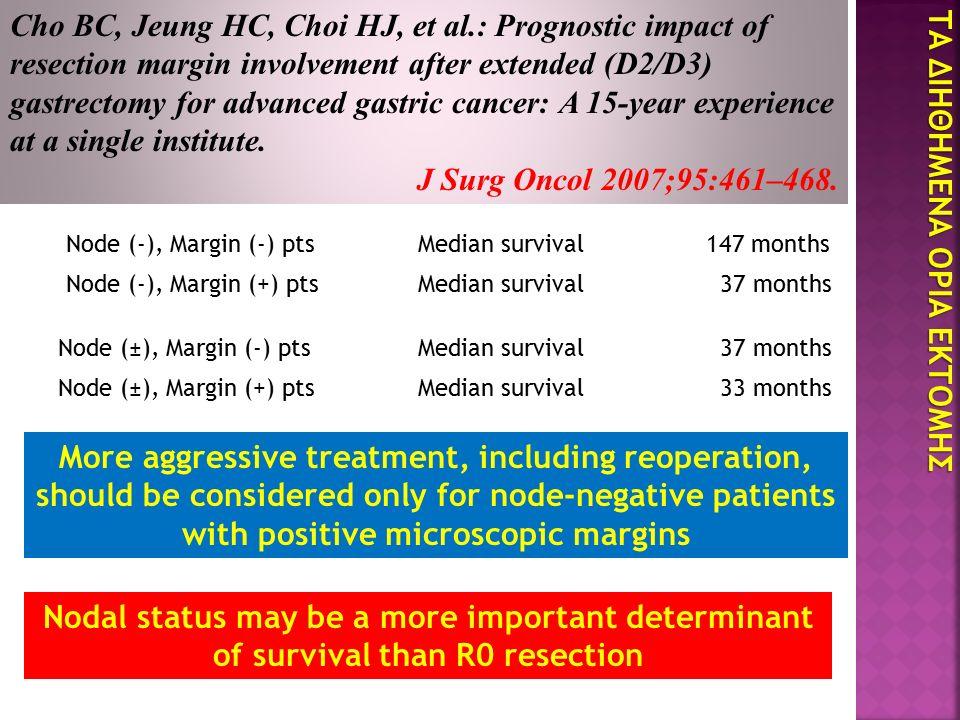 ΤΑ ΔΙΗΘΗΜΕΝΑ ΟΡΙΑ ΕΚΤΟΜΗΣ Cho BC, Jeung HC, Choi HJ, et al.: Prognostic impact of resection margin involvement after extended (D2/D3) gastrectomy for advanced gastric cancer: A 15-year experience at a single institute.