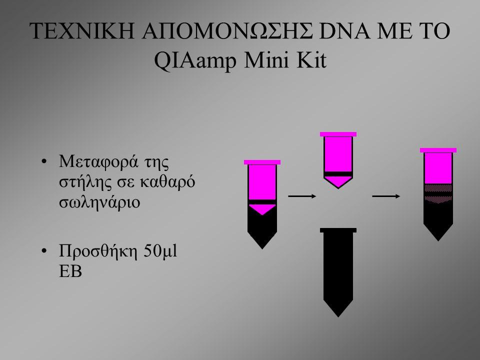 ΤΕΧΝΙΚΗ ΑΠΟΜΟΝΩΣΗΣ DNA ΜΕ ΤΟ QIAamp Mini Kit Μεταφορά της στήλης σε καθαρό σωληνάριο Προσθήκη 500μl AW2, φυγοκέντρηση στις 12000 rpm για 3min