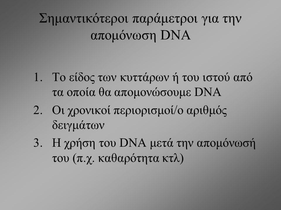 Oι μέθοδοι απομόνωσης DNA στηρίζονται στην σταθερότητά του σε επίδραση χημικών: Δραστικές χημικές ομάδες (αζωτούχες βάσεις) βρίσκονται στο εσωτερικό τ