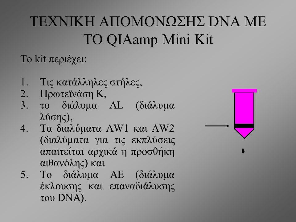 ΤΕΧΝΙΚΗ ΑΠΟΜΟΝΩΣΗΣ DNA ΜΕ ΤΟ QIAamp Mini Kit Η απομόνωση βασίζεται στη χρησιμοποίηση στηλών που φέρουν μεμβράνες από πηκτή σιλικόνης η οποία δεσμεύει