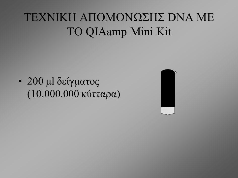 ΤΕΧΝΙΚΗ ΑΠΟΜΟΝΩΣΗΣ DNA ΜΕ ΤΟ QIAamp Mini Kit Το kit περιέχει: 1.Τις κατάλληλες στήλες, 2.Πρωτεϊνάση Κ, 3.το διάλυμα AL (διάλυμα λύσης), 4.Τα διαλύματα