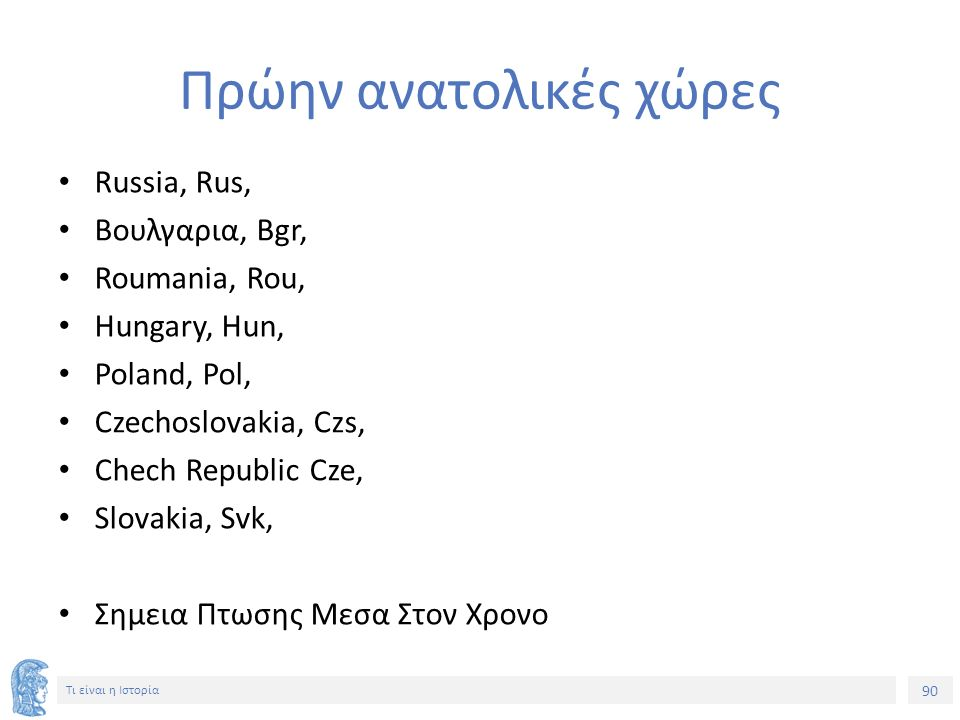 90 Τι είναι η Ιστορία Πρώην ανατολικές χώρες Russia, Rus, Βουλγαρια, Bgr, Roumania, Rou, Hungary, Hun, Poland, Pol, Czechoslovakia, Czs, Chech Republi