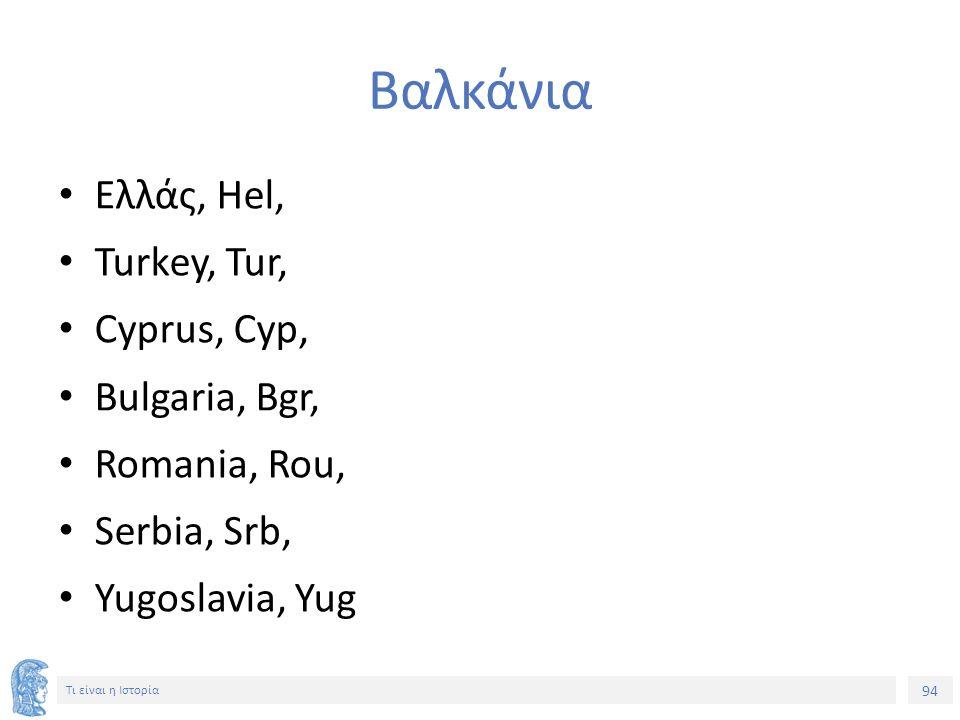 94 Τι είναι η Ιστορία Βαλκάνια Ελλάς, Hel, Turkey, Tur, Cyprus, Cyp, Bulgaria, Bgr, Romania, Rou, Serbia, Srb, Yugoslavia, Yug