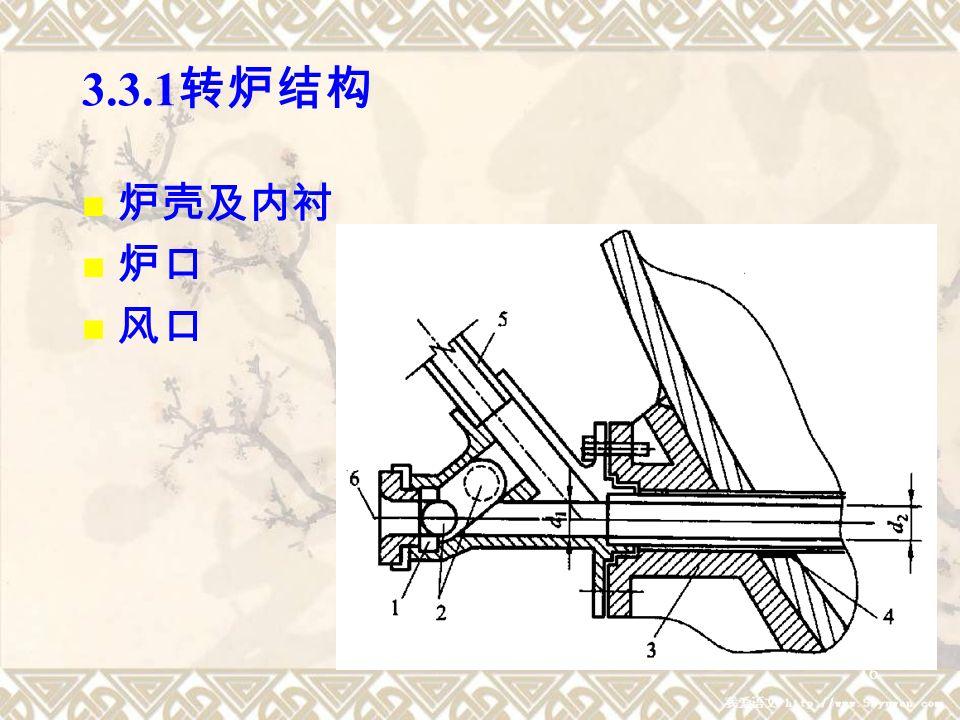 16 3.3.1 转炉结构 炉壳及内衬 炉口 风口