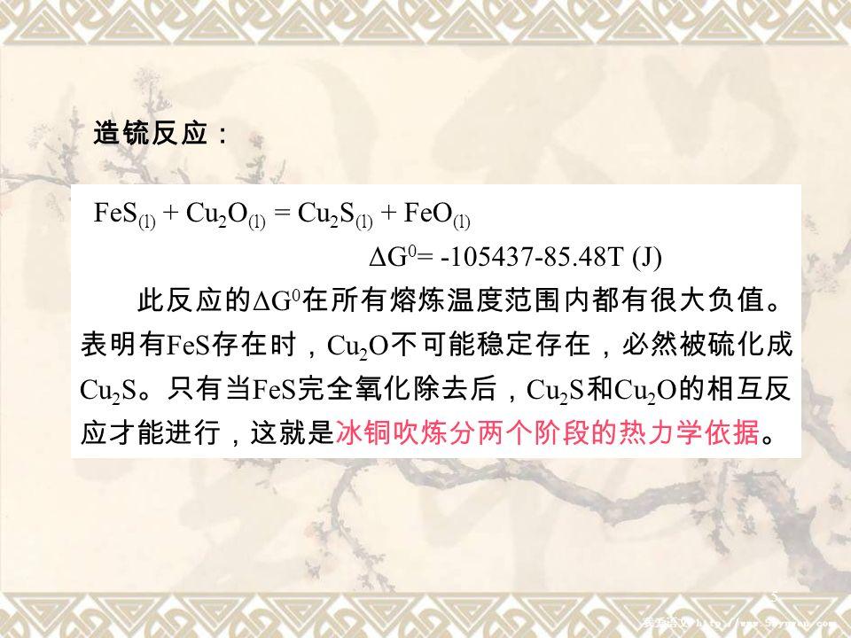 6 ① FeS (1) 冰铜吹炼过程中各组分的变化规律 表 2-13 吹炼过程中铁化合物的 ΔG 0