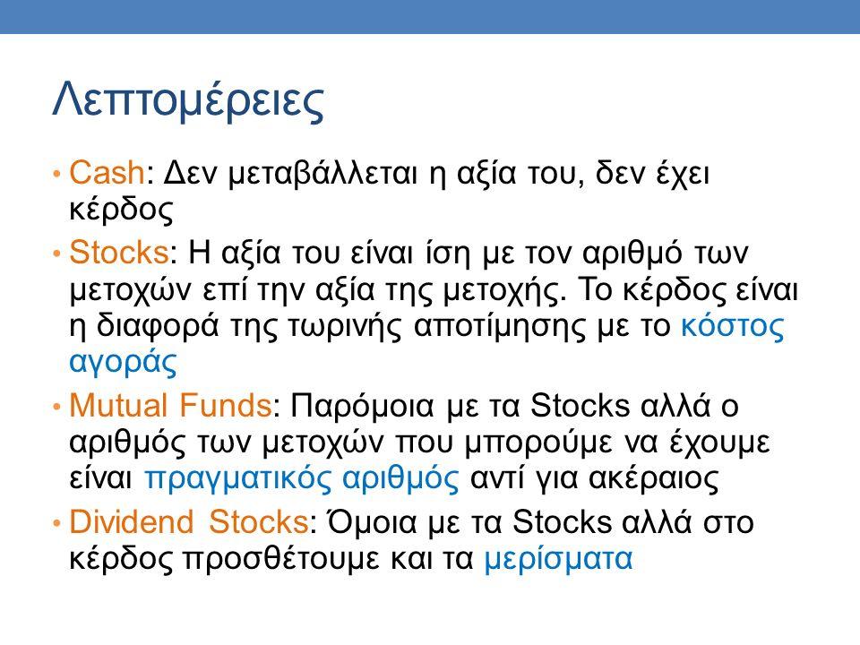 Λεπτομέρειες Cash: Δεν μεταβάλλεται η αξία του, δεν έχει κέρδος Stocks: H αξία του είναι ίση με τον αριθμό των μετοχών επί την αξία της μετοχής.