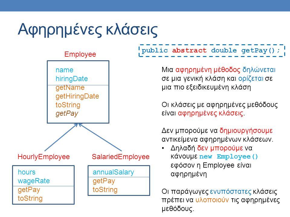 hours wageRate getPay toString HourlyEmployee annualSalary getPay toString SalariedEmployee name hiringDate getName getHiringDate toString getPay Αφηρημένες κλάσεις Employee Μια αφηρημένη μέθοδος δηλώνεται σε μια γενική κλάση και ορίζεται σε μια πιο εξειδικευμένη κλάση Οι κλάσεις με αφηρημένες μεθόδους είναι αφηρημένες κλάσεις.
