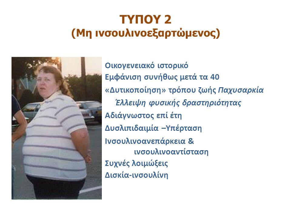 ΤΥΠΟΥ 2 (Μη ινσουλινοεξαρτώμενος) 90-95% των περιπτώσεων Οικογενειακό ιστορικό Εμφάνιση συνήθως μετά τα 40 «Δυτικοποίηση» τρόπου ζωής Παχυσαρκία Έλλει
