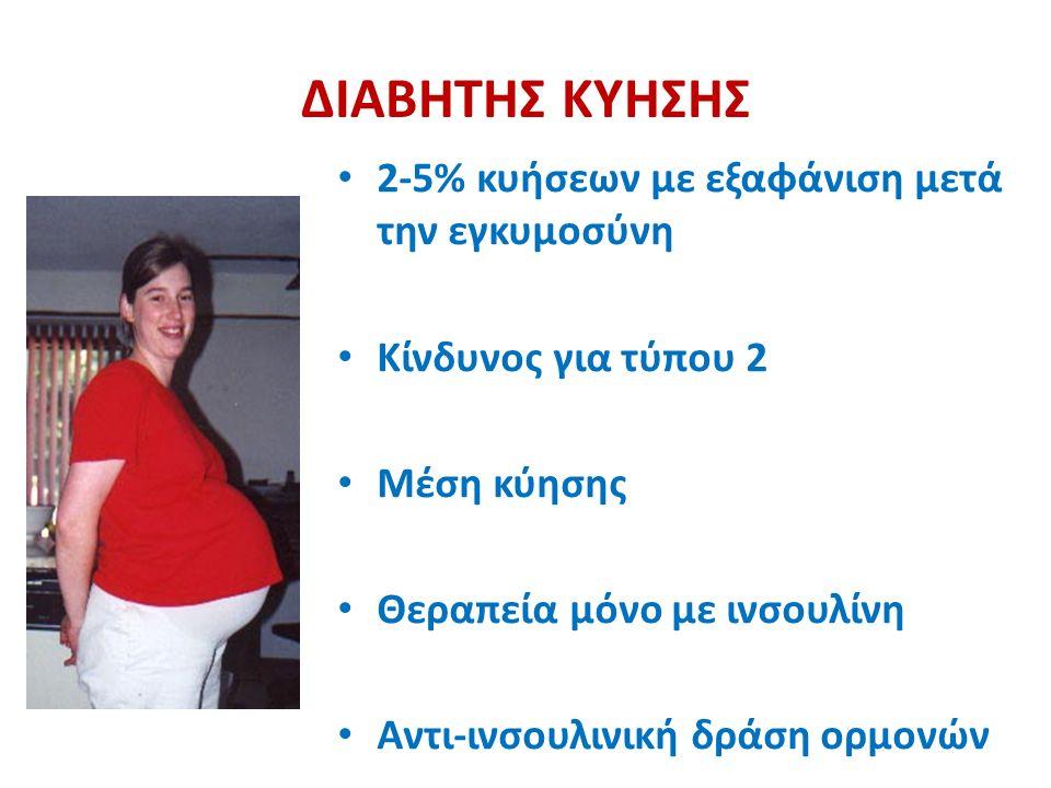 ΔΙΑΒΗΤΗΣ ΚΥΗΣΗΣ 2-5% κυήσεων με εξαφάνιση μετά την εγκυμοσύνη Κίνδυνος για τύπου 2 Μέση κύησης Θεραπεία μόνο με ινσουλίνη Αντι-ινσουλινική δράση ορμονών