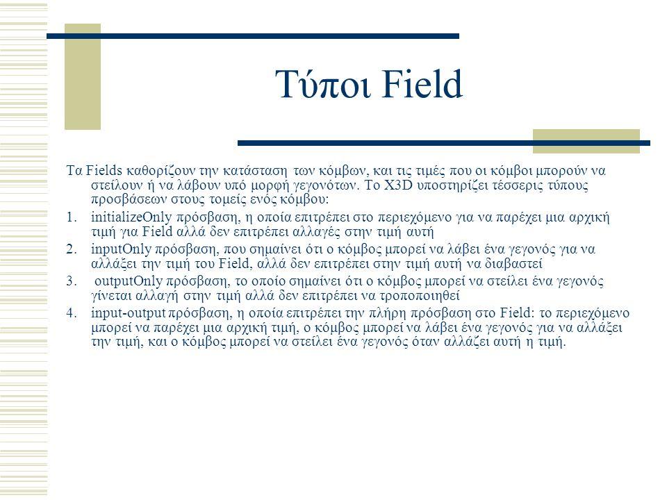 Τύποι Field Τα Fields καθορίζουν την κατάσταση των κόμβων, και τις τιμές που οι κόμβοι μπορούν να στείλουν ή να λάβουν υπό μορφή γεγονότων. To X3D υπο