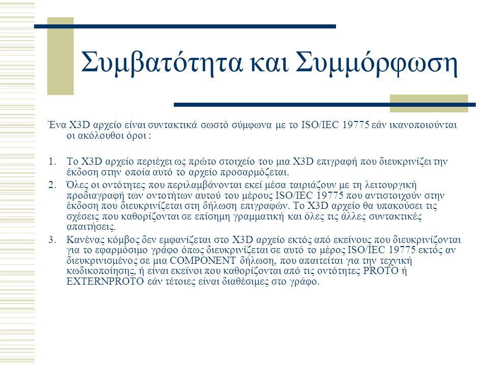 Συμβατότητα και Συμμόρφωση Ένα X3D αρχείο είναι συντακτικά σωστό σύμφωνα με το ISO/IEC 19775 εάν ικανοποιούνται οι ακόλουθοι όροι : 1.Το X3D αρχείο περιέχει ως πρώτο στοιχείο του μια X3D επιγραφή που διευκρινίζει την έκδοση στην οποία αυτό το αρχείο προσαρμόζεται.