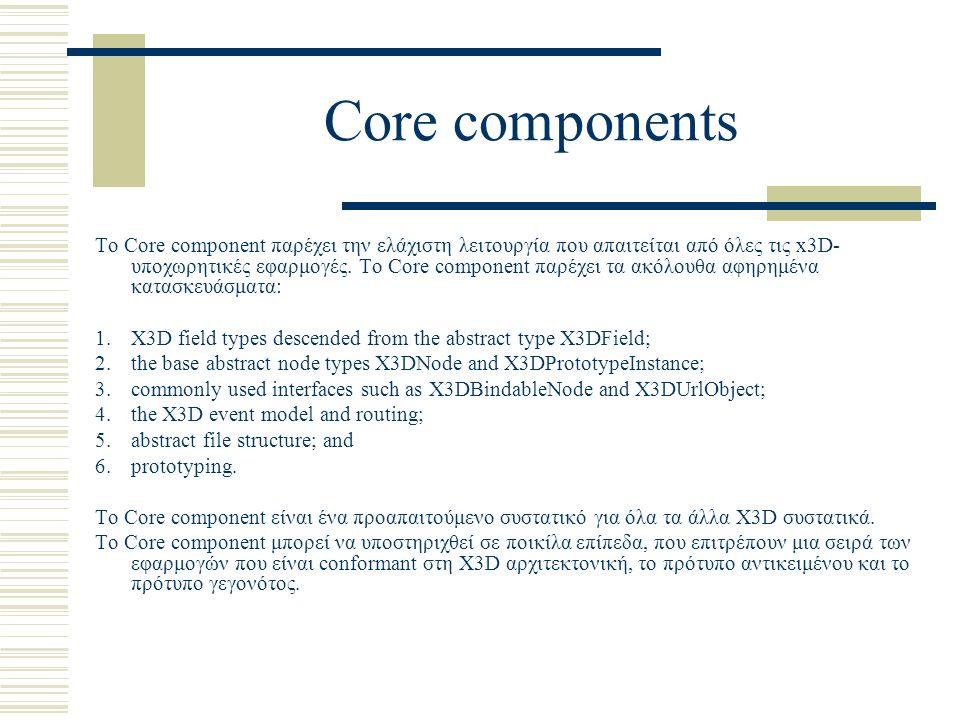 Core components Το Core component παρέχει την ελάχιστη λειτουργία που απαιτείται από όλες τις x3D- υποχωρητικές εφαρμογές. Το Core component παρέχει τ