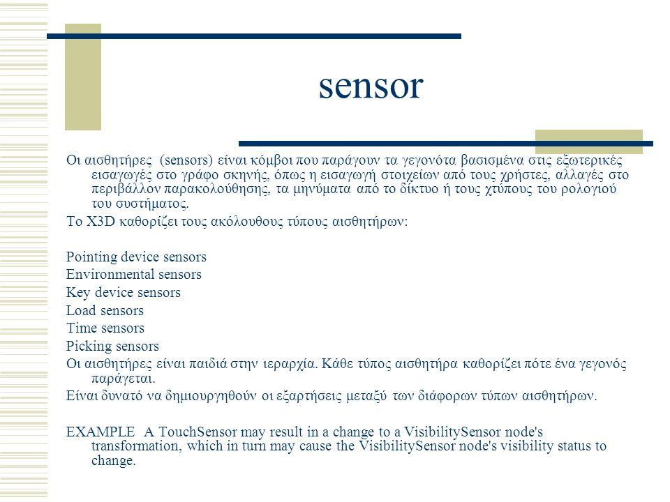 sensor Οι αισθητήρες (sensors) είναι κόμβοι που παράγουν τα γεγονότα βασισμένα στις εξωτερικές εισαγωγές στο γράφο σκηνής, όπως η εισαγωγή στοιχείων από τους χρήστες, αλλαγές στο περιβάλλον παρακολούθησης, τα μηνύματα από το δίκτυο ή τους χτύπους του ρολογιού του συστήματος.