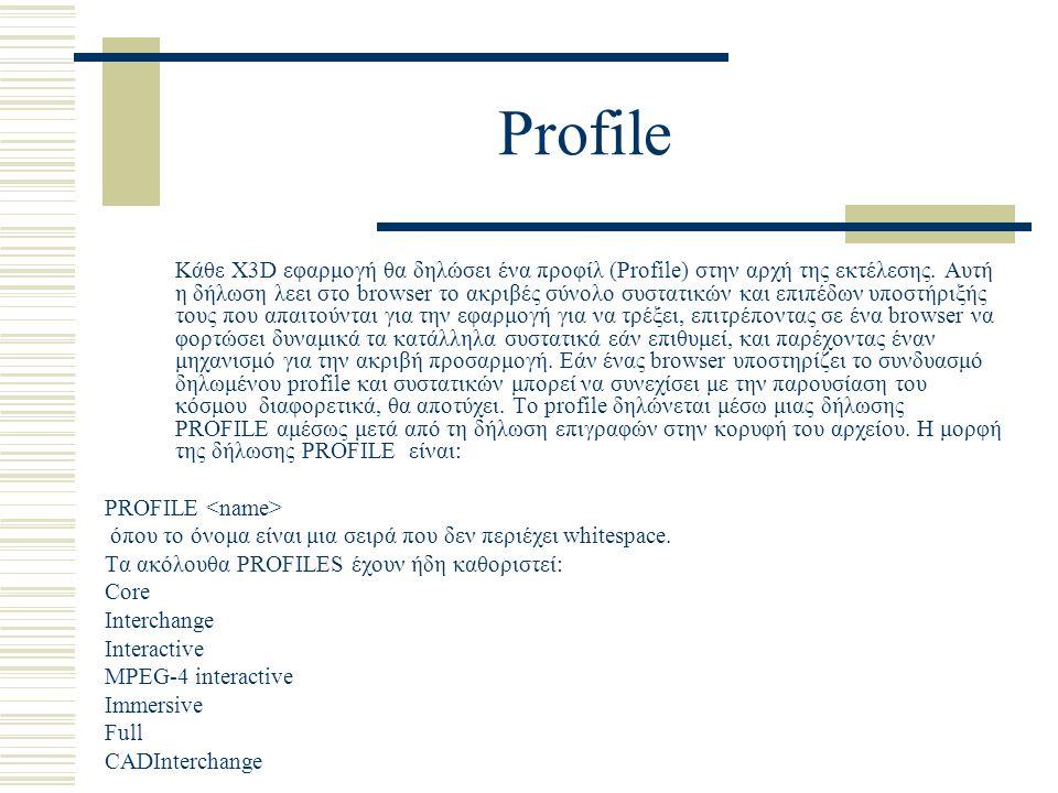 Profile Κάθε X3D εφαρμογή θα δηλώσει ένα προφίλ (Profile) στην αρχή της εκτέλεσης. Αυτή η δήλωση λεει στο browser το ακριβές σύνολο συστατικών και επι