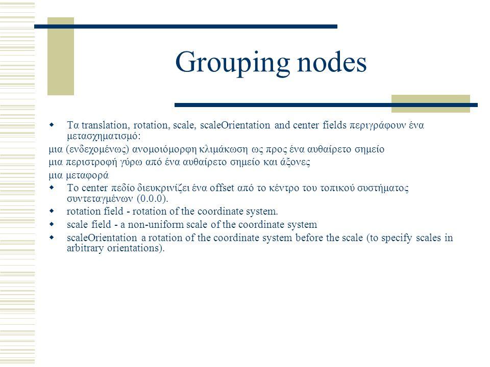 Grouping nodes  Τα translation, rotation, scale, scaleOrientation and center fields περιγράφουν ένα μετασχηματισμό: μια (ενδεχομένως) ανομοιόμορφη κλιμάκωση ως προς ένα αυθαίρετο σημείο μια περιστροφή γύρω από ένα αυθαίρετο σημείο και άξονες μια μεταφορά  Το center πεδίο διευκρινίζει ένα offset από τo κέντρο του τοπικού συστήματος συντεταγμένων (0.0.0).
