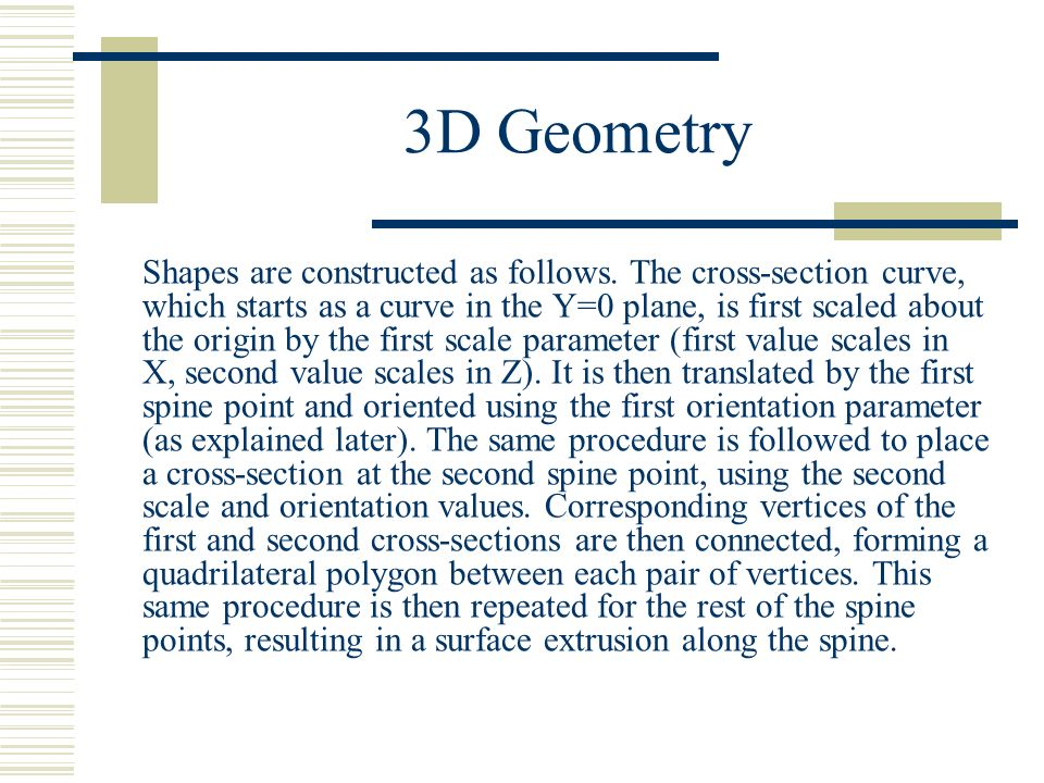 3D Geometry Shapes are constructed as follows.