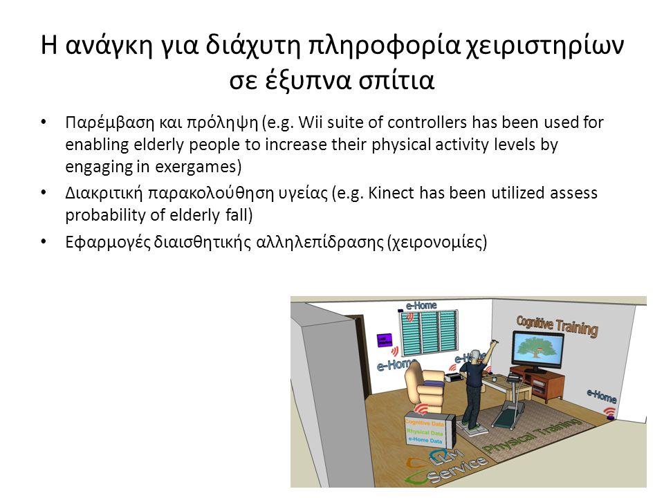 Παρέμβαση και πρόληψη (e.g. Wii suite of controllers has been used for enabling elderly people to increase their physical activity levels by engaging