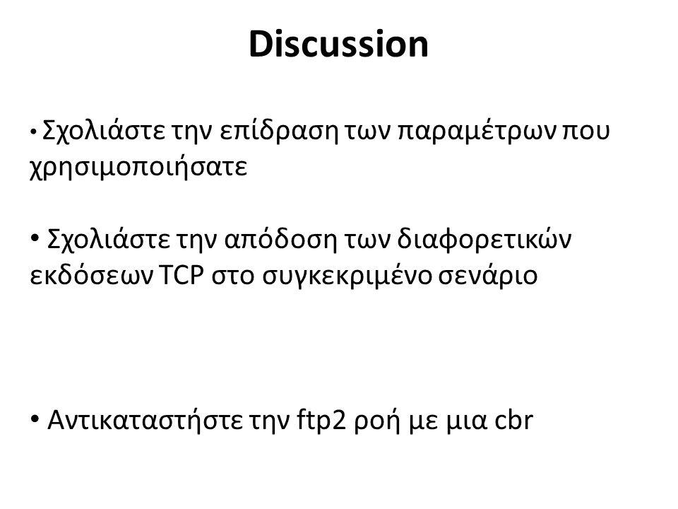 Discussion Σχολιάστε την επίδραση των παραμέτρων που χρησιμοποιήσατε Σχολιάστε την απόδοση των διαφορετικών εκδόσεων TCP στο συγκεκριμένο σενάριο Αντικαταστήστε την ftp2 ροή με μια cbr