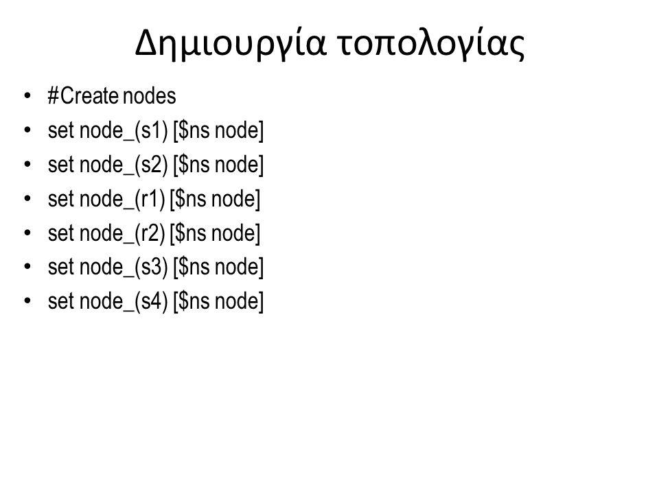 Δημιουργία τοπολογίας #Create a duplex link between the nodes $ns duplex-link $node_(s1) $node_(r1) 10Mb 2ms DropTail $ns duplex-link $node_(s2) $node_(r1) 10Mb 3ms DropTail $ns duplex-link $node_(r1) $node_(r2) 1.5Mb 20ms RED $ns queue-limit $node_(r1) $node_(r2) 25 $ns queue-limit $node_(r2) $node_(r1) 25 $ns duplex-link $node_(s3) $node_(r2) 10Mb 4ms DropTail $ns duplex-link $node_(s4) $node_(r2) 10Mb 5ms DropTail