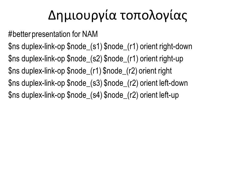 Προσθήκη για καλύτερη απεικόνιση #Create a simulator object set ns [new Simulator] #Define different colors for data flows (for NAM) $ns color 1 Blue $ns color 2 Red